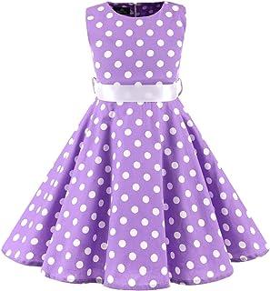 Shinningstar Girls' Costume Full Cotton Sleeveless Polka Dot Big Swing Party Picnic Dresses