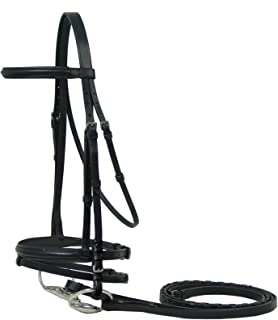 Macmillan English Dressage Horse Bridle with Laced Reins and Flash - Close Out Sale