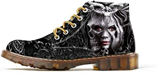 Boots for Women Clown Skull Face Print Shoes Dr Martin Skull Shoes Fashion Womens Boots Black Shoes for Woman Cool Witch Printed Shoes Ankle Spring Shoes 2019