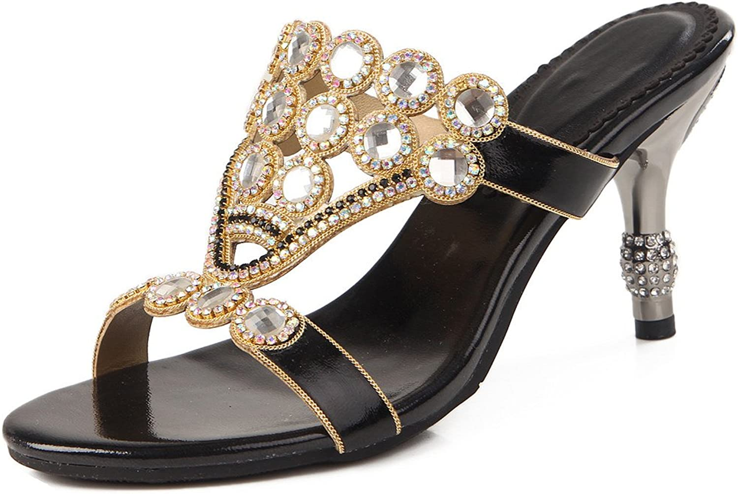 LizForm Women Slip On Heeled Sandals Cutout Rhinestone Wedding Evening Prom Party Sandals