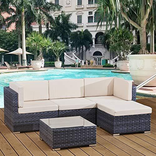 Avril Paris 4 seats outdoor sofa rattan garden furniture set - Ocean grey - CANNES
