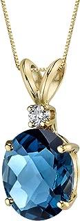 14 Karat Yellow Gold Oval Shape 3.00 Carats London Blue Topaz Diamond Pendant