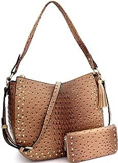 Ostrich Print Vegan Leather Large Round Shoulder Bag Hobo Crossbody Wallet SET
