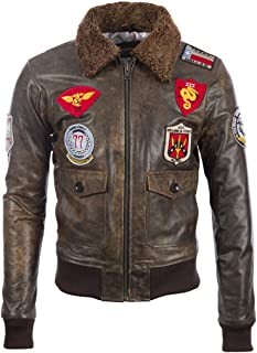 Aviatrix Men's Real Leather Vintage Pilot Flight Bomber Patch Jacket (TM72)