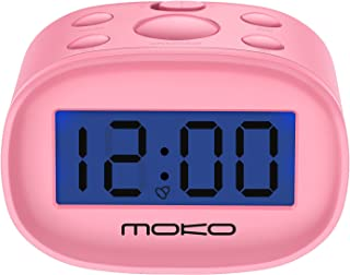 MoKo Kids Alarm Clock, High Accuracy Mini LCD Display Digital Clock Night Light Travel Bedside Alarm Clocks with Snooze Time Backlight Electronic Home Office Table Clock - Pink