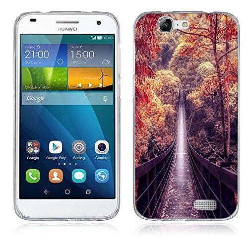 FUBAODA für Huawei Ascend G7 Hülle, Schöne und romantische Landschaft Serie TPU Case Schutzhülle Silikon Case für Huawei Ascend G7