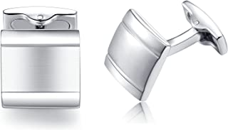 Honey Bear Cufflinks For Mens - Square Stainless Steel Silver ,for Business Wedding Gift
