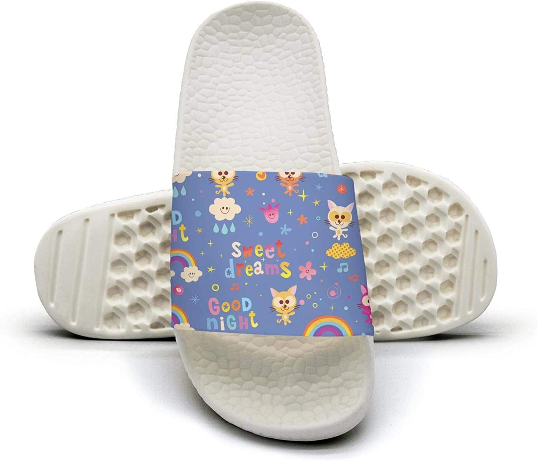 Womens Ladies Good Night Sweet Dreams Kids Slip on Beach Sandals and Anti-Slip Shower Slipper Comfort Sandals