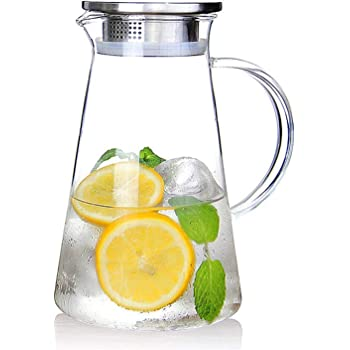 SUSTEAS 2.0 Liter 68 ounces glass pitcher with lid iced tea pitcher water jug hot cold water ice tea wine coffee milk and juice beverage carafe