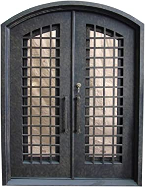 ALEKO IDRD14 Iron Woven Dual Door with Arched Top Frame and Threshold - 81 x 62 x 6 Inches - Rustic Bronze