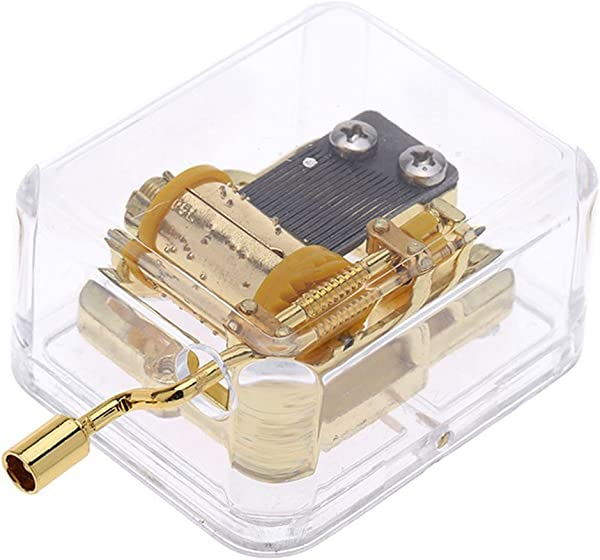 Pursuestar Acrylic Crystal Hand Crank Gurdy Gold Movement Mechanism Music Box Wedding Valentine Christmas Birthday Gift Wedding March