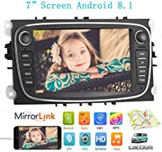 Double Din Android 8.1 Car Stereo Receiver, 7 inch HD Touch Screen Car Radio Head Unit, Support Android & iOS Mirror Link Bluetooth WiFi GPS Navigation for Ford/Focus/S-Max/Mondeo 9/GalaxyC-Max