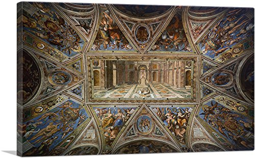 "ARTCANVAS Ceiling of Constantine Sala di Costantino Vatican Museums Canvas Art Print by Raphael - 26"" x 18"" (1.50"" Deep)"
