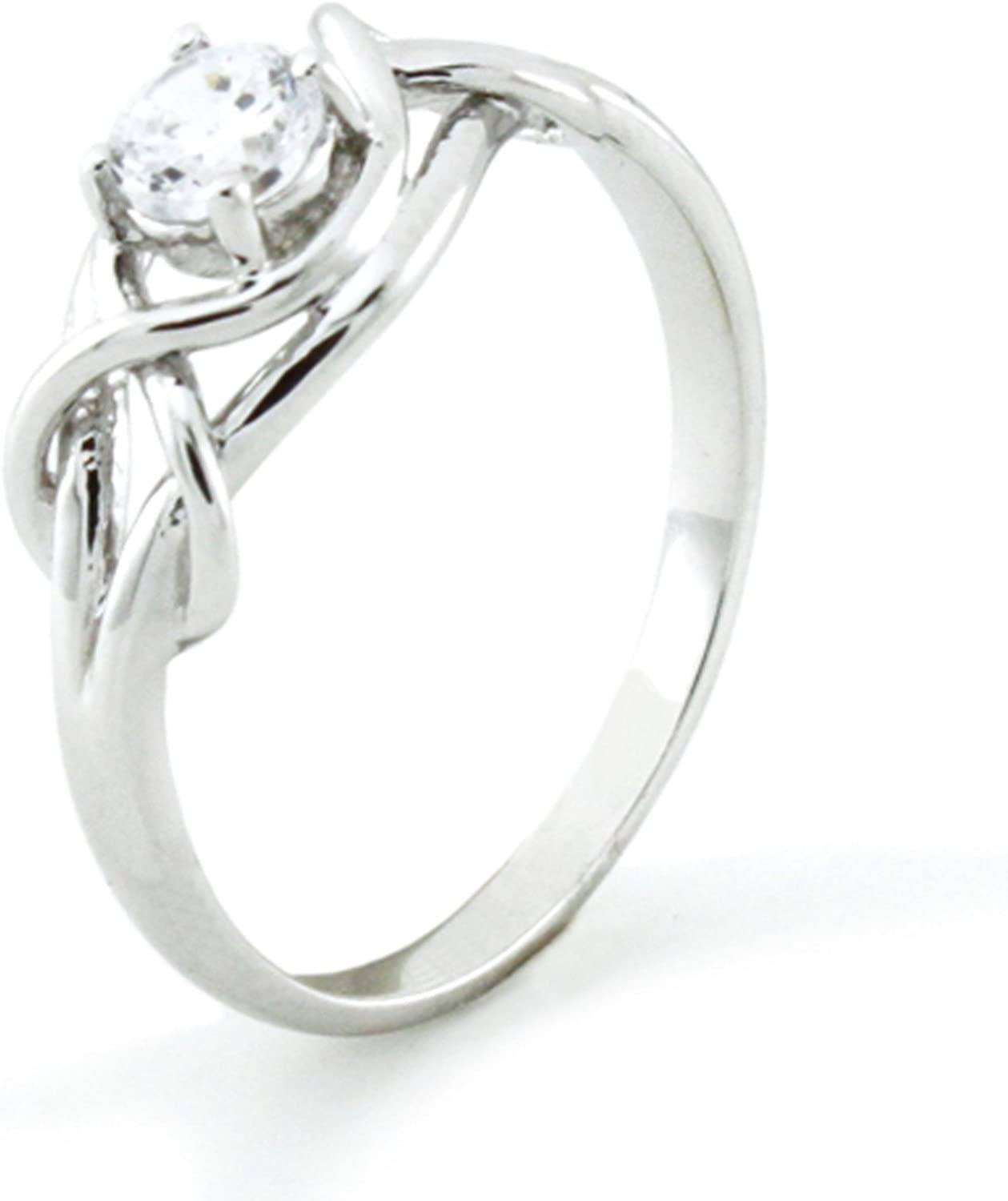 Max 83% OFF Sterling Silver Twisted Promise Infinity Challenge the lowest price of Japan ☆ Cubic Knot Zirconia Rin