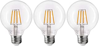 TORCHSTAR Dimmable LED G25 Light Bulb, Filament Vintage Style, 4.5W (40W Equiv.), 2700K Soft White, E26 Medium Base, for Makeup Mirror, Pendant, Bathroom, Dressing Room, Pack of 3