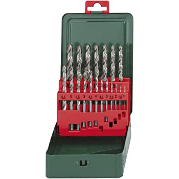 Metabo 627153000 627153000-Estuche metálico 19 piezas broca para metal HSS-G versión, afilado en cruz de 135º diámetros de 1,0 a 10,0 mm x 0,5 mm: Amazon.es: Bricolaje y herramientas