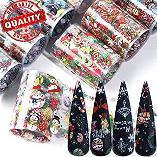 10 Sheets Christmas Nail Transfer Foils Slide Stickers Colorful Merry Christmas Snowman Santa Claus Elk Sock Snowflake Nail Art Foil Decals Decoration for Manicure DIY or Nail Salon (10 sheets)