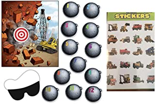 Construction Truck PARTY Game & 120 Stickers - Pin the Wrecking Ball on the Crane Birthday PARTIES - Dump Truck Bull Dozer Cement Mixer CLASSROOM Activity