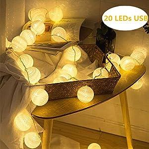 ELINKUME® LED Bolas de algodón luces de hadas, 20 LEDs 4M / 13,12 pies, alimentado por USB, blanco cálido bola de algodón iluminación de humor para balcón, ventana, fiesta, boda, navidad