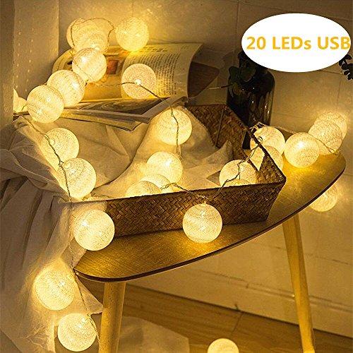 LED Cotton Ball Lichterkette Warmweiß - ELINKUME 4M/13,12ft 20er LED Baumwollkugeln Stimmungsbeleuchtung Dekoratives Licht, Stromversorgung über USB, Perfekt für Party/Hochzeit/Urlaub/Weihnachten