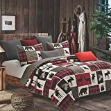Quilt Bedding Set in Full/Queen by Virah Bella - Lodge Life Printed Lightweight Reversible Quilt with 2 Matching Pillow Shams - Cozy & Beautiful Lodge-Themed Bedding