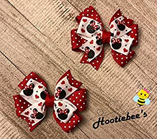 Red Glitter Mouse Toddler Hair Bow Set
