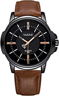 YAZOLE Men Quartz Watch Exquisite Male Wristwatch Accurate Time Display 3ATM Waterproof Business Watches Leather Strap Mal...