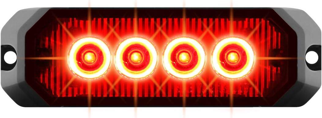 GG Grand General 81809 White/&Amber//Clear LED Strobe Light 4 Rectangle Amber and White 4, 14 Modes, 9~36V