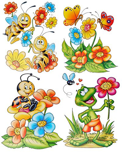 alles-meine.de GmbH 4 Bögen: Fensterbilder - lustige Tiere - Schmetterlinge - Frosch - Blumen - Bienen - statisch haftend - Sticker Fenstersticker / z.B. für Fenster und Spiegel ..