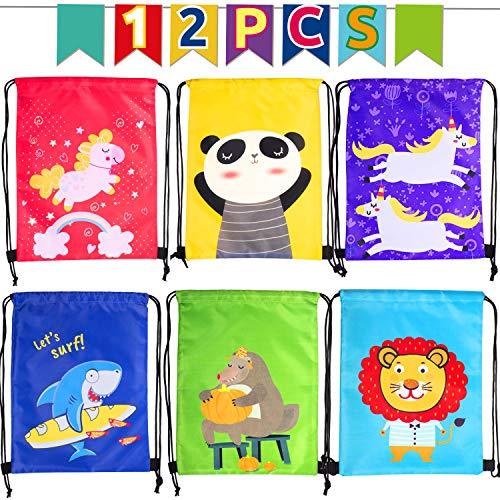 Joyjoz 12Packs Mochila Cuerda, Mochila con Cordón Niños Bolsas Regalo Cumpleaños Deporte Gimnasio Backpack para Niños Niñas Fiesta de Cumpleaños Regalos
