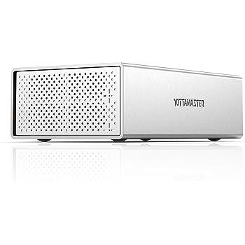 [RAID機能10Gbps]Yottamaster (2Bay) HDDケース 3.5インチ USB3.1 Gen2 Type-C接続 SATA RAIDケース 2台搭載可能 外付けハードディスクケース アルミ ドライブケース シルバー[PS200RC3]