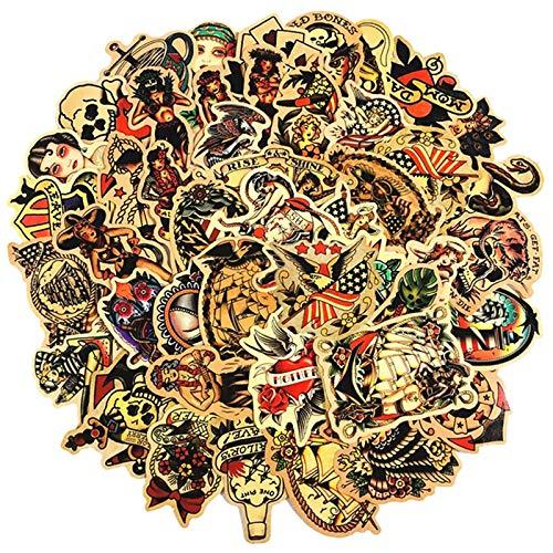 LSPLSP Pegatina de niña con Aguja Vintage Europea y Americana, monopatín, portátil, Guitarra, Motocicleta, Juguete, Regalo para niños, Pegatina de Graffiti, 50 Uds.