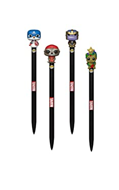Funko Pop Marvel Holiday Pop Pens! Snowman Captain America Christmas Groot Ugly Sweater Thanos Winter Rocket Raccoon Pen Toppers- 4 Pack Set!