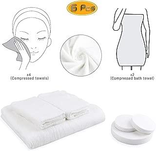 Oruuum 2 Disposable Compressed Towels + 1 Bath Towel Cotton Clean Towels and Bath Towels for Travel Tourist Articles