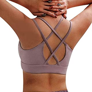 Women Sports Bras, Push Up Strappy Sports Bras for Female Sexy Bandage Running Top Wirefree Padded Medium Support Yoga Bra...
