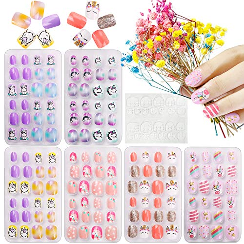 Kalolary 144 PCS Kinder Fingernägel, Einhorn Muster Kinder Kunstnägel Press on Nails Short Full Cover False Nail Set Künstliche Nail Tips Geschenk mit 1 Stück Nail Glue Sticker