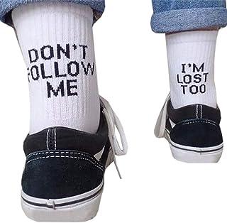 KERDEJAR, KERDEJAR Calcetines, Unisex Calcetines Largos de algodón con Estampado de Letras de Palabras Divertidas Mensaje Hip Hop Skateboard Blanco