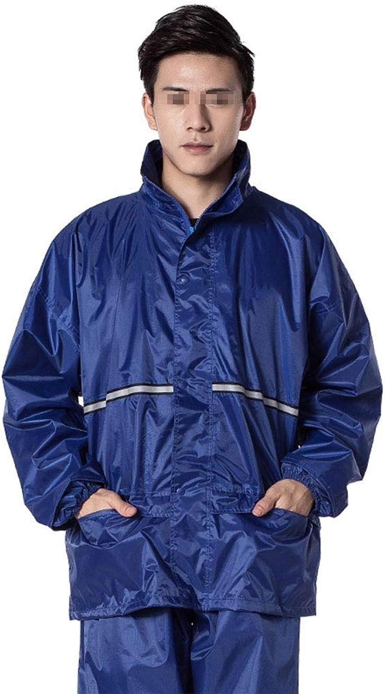 YangMi Split Regenmantel- wasserdichte Jacke für Erwachsene - Doppelter starker Regenmantel Komfortable Atmungsaktive Sicherheit Reflektierender Streifen Regentag Camping Royal Blau