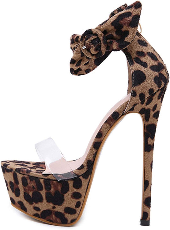 HuangKang 2019 Spring New Leopard Grain Sexy Platform Thin Heel Open Toe Zipper Cover Heel Ladies Sandals