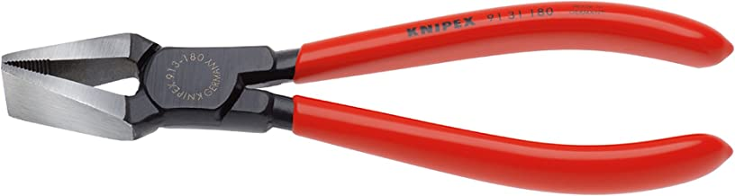Knipex 91 31 180 Glass Breaking Pincer Black Atramentized Plastic Coated, 180 mm