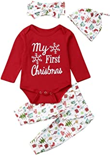Weixinbuy Baby Girl's My First Christmas Cotton Romper Bodysuit Pants Trousers Clothes Set with Hat Headband