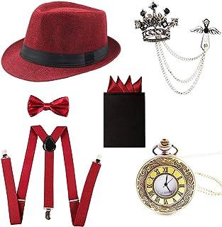 73cf5ffaa 1920s Trilby Manhattan Fedora Hat,Suspenders Y-Back Trouser Braces,Pre Tied  Bow