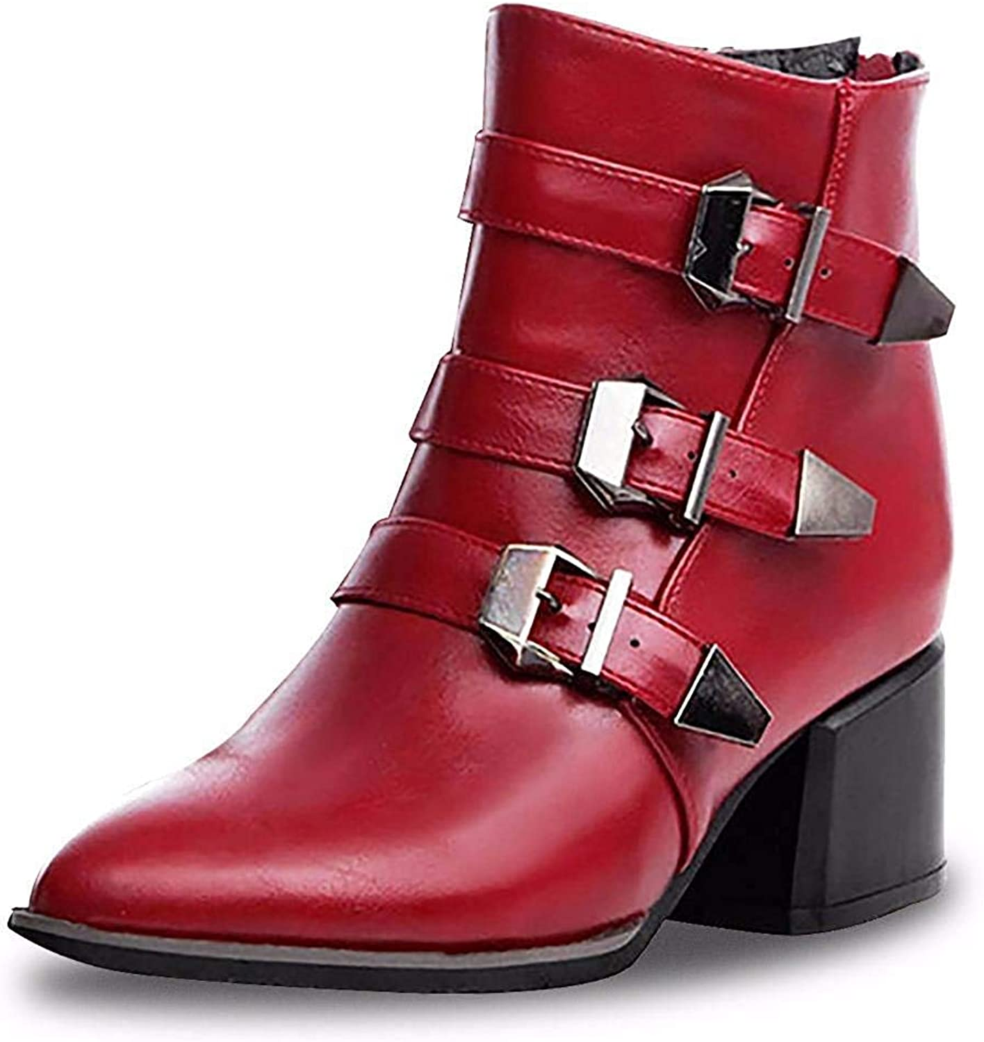 Womens Martin Boots Pointed Toe Zipper Ankle Boots Mid Heel Boots for Women