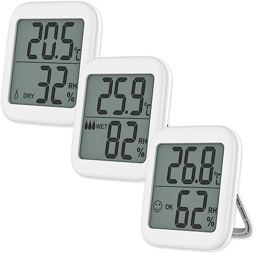VICKSONGS Thermometre Interieur, [Support et Installation Magnétique] Hygrometre Mini pour Détecter humidité et la te...