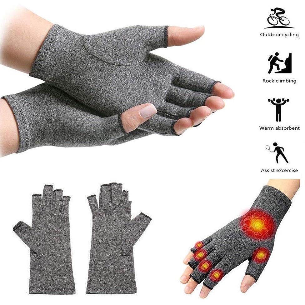 Unisex Anti Arthritis Copper Fingerless Gloves Compression Therapy Circulation(L,Ash)
