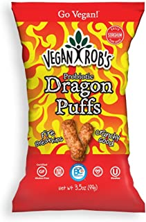 Vegan Rob's Puffs, Dragon | Made with Probiotics, Gluten-Free Snack, Plant Based, Vegan, Zero Trans Fats | 3.5 Ounce Bags (12 Count)