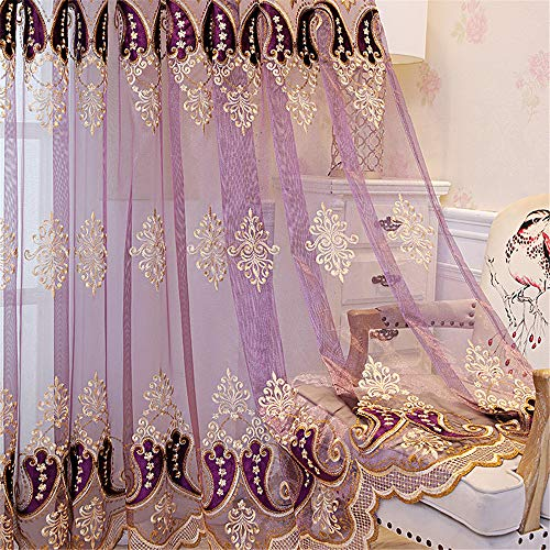 AiFish European Style Embroidered Chili Peppers Elegant Lace Sheer Curtains Window Treatment Drape Panels Rod Pocket Top Decorative Voile Tulle Curtains for Living Room 1 Panel Purple W75 x L84 inch
