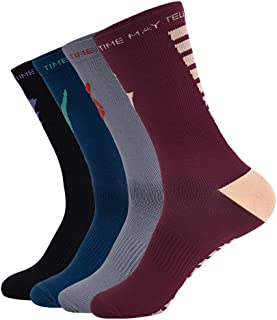 Time May Tell Compression Athletic Crew Socks for Men & Women,Fit for Running,Outdoor Sports,Travel 2/4 Pack
