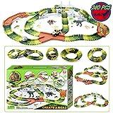 Pulchra Autorennbahn Rennbahn Twister Track Cars Rennstrecke Montage Elektrisch Spielzeug Cars Rennbahn Spielzeug für Kinder (Dinosaurier Spielzeug Track, 240Pcs)