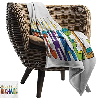EwaskyOnline Michael Flannel Blanket Festive Gathering Theme Colorful Birthday Cake Design Joyous Composition of Letters Camping Throw,Office wrap 93
